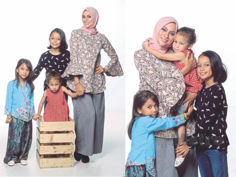 NATASHA bersama tiga anaknya.