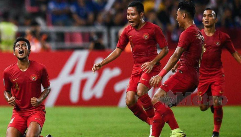 Aksi pemain skuad bola sepak Indonesia. FOTO File Agensi