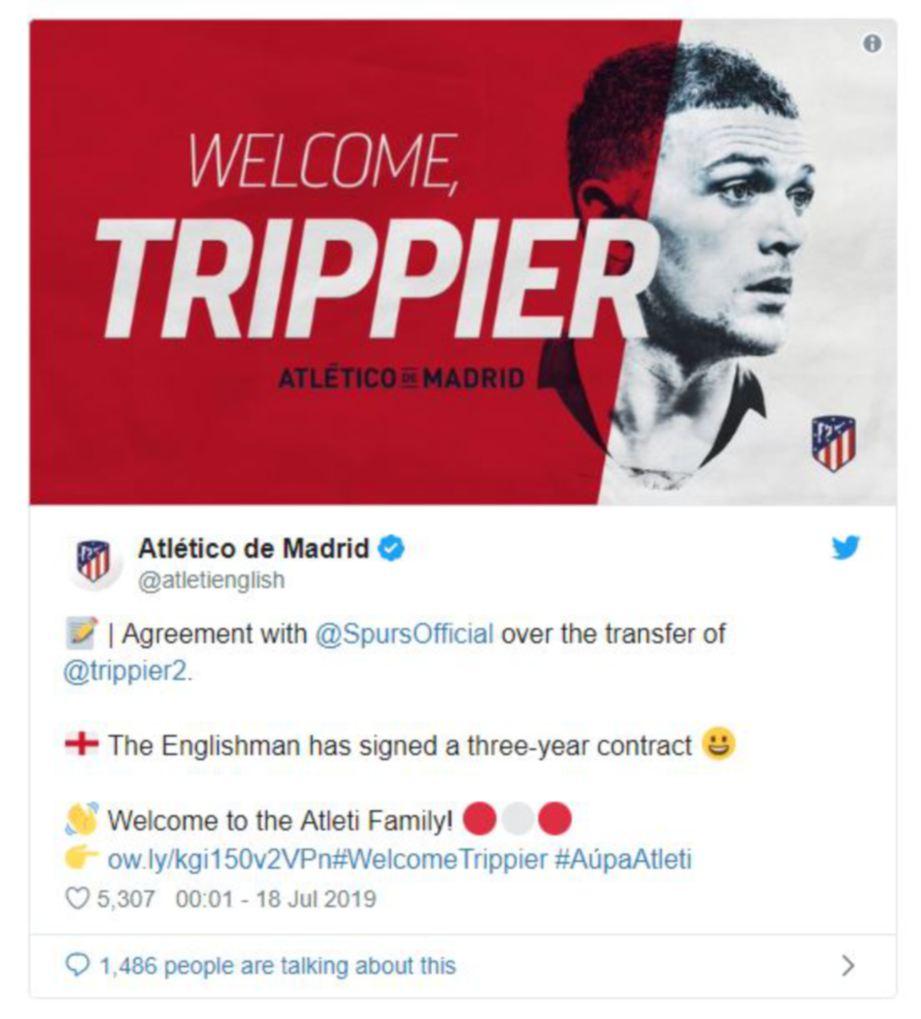 ATLETICO menyambut kehadiran Trippier dalam laman Twitter mereka. — FOTO Twitter Atletico Madrid
