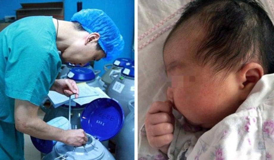 EMBRIO disimpan dalam cecair nitrogen pada suhu -196 Celsius. Gambar kanan, bayi berkenaan yang dilahirkan selepas embrio dibekukan selama 18 tahun.