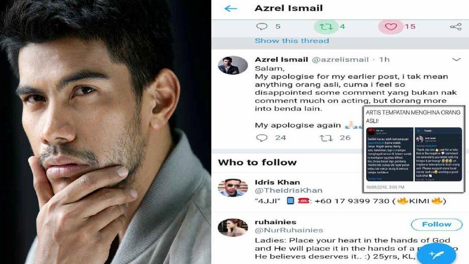 Azrel mohon maaf selepas lakonannya mendapat reaksi serta komen netizen. FOTO fail HM/IG
