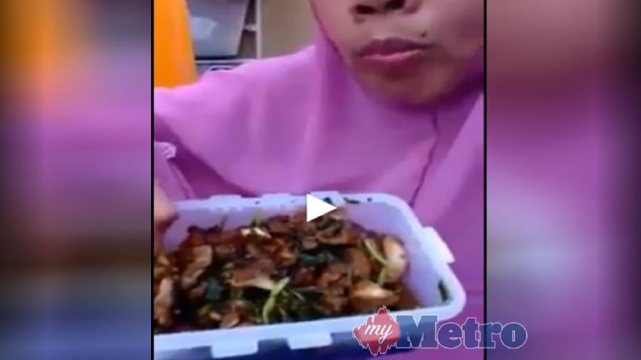 PETIKAN rakaman video wanita warga Indonesia mendakwa memakan daging babi yang tular. FOTO Ihsan Agensi
