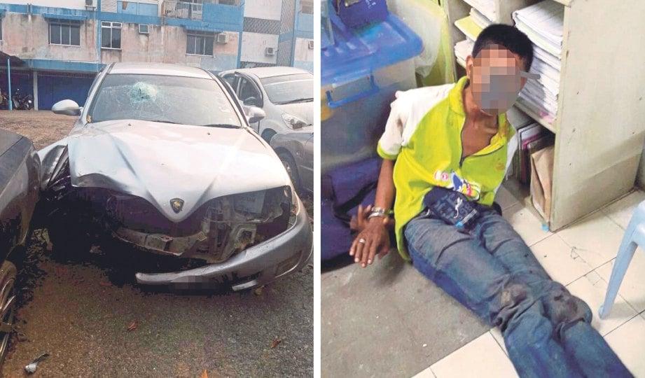 SUSPEK yang merempuh sekatan jalan raya ditahan selepas keretanya terbabas, kelmarin.