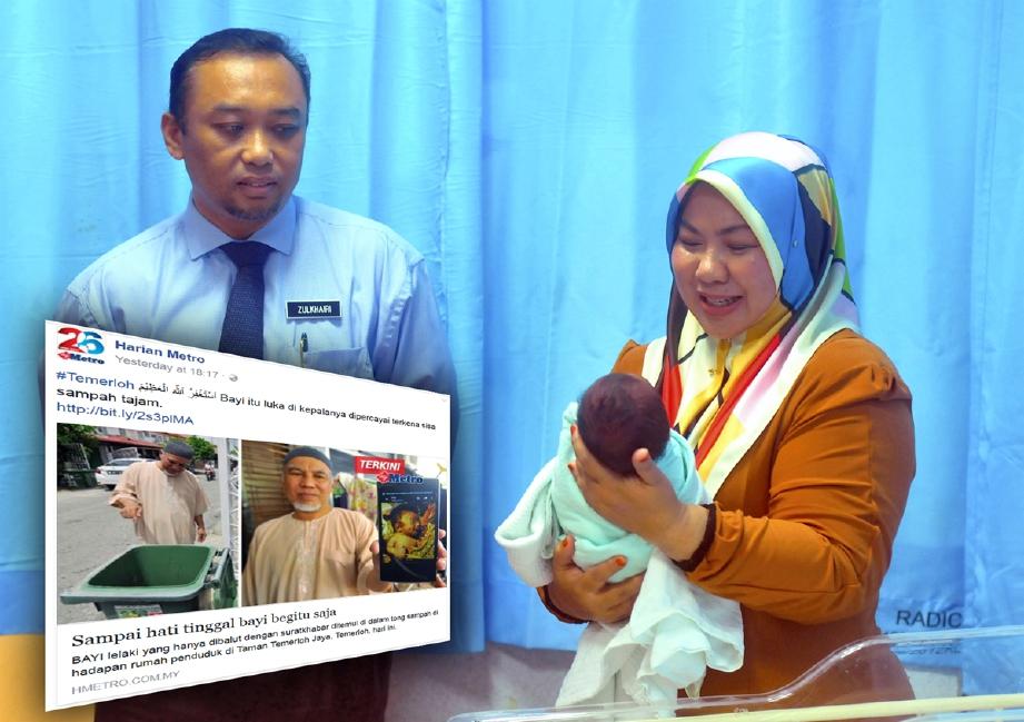 Pengerusi Jawatankuasa Pembangunan Wanita dan Keluarga, Komunikasi dan Multimedia Pahang, Datuk Shahaniza Shamsuddin (kanan) memangku bayi lelaki yang dijumpai masih bertali pusat dalam tong sampah di Taman Temerloh Jaya Sembilan, Temerloh. - Foto NAZIRUL ROSELAN