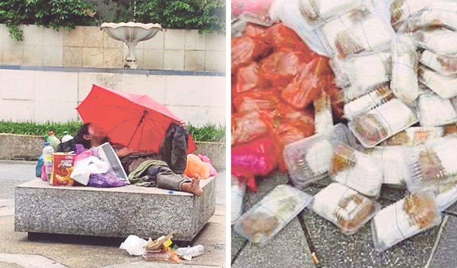 GELANDANGAN tidur di kawasan tumpuan awam berhampiran dataran Masjid Negara. Gambar kanan, longgokan makanan sumbangan NGO yang ditinggalkan.