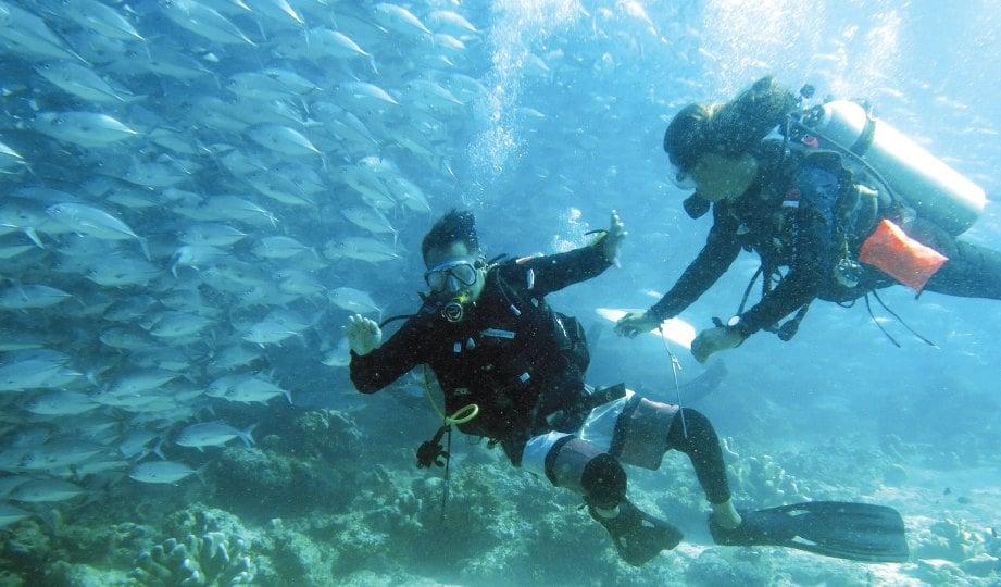 PERLUKAN bantuan daripada jurulatih di dalam laut.