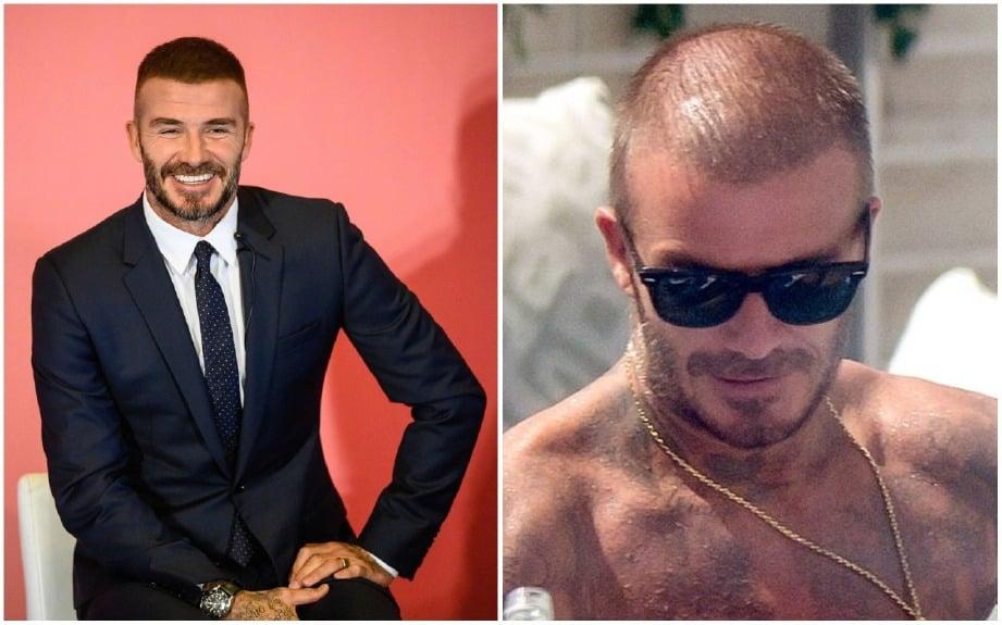 Penampilan Beckham (kiri) semasa hadir majlis AIA di Hong Kong semalam manakala (kanan) adalah gam,bar dia yang tular semasa di Miami awal bulan ini.