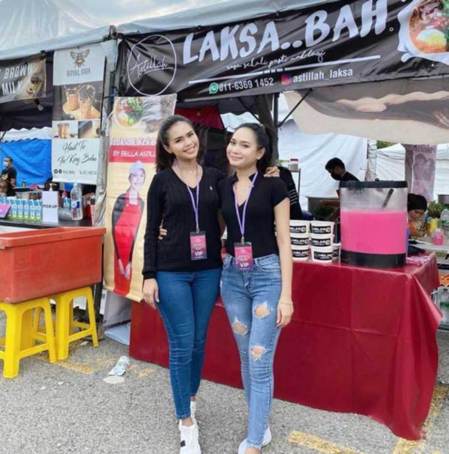 BELLA berniaga laksa di Havoc Food Festival 3.0. FOTO IG bellaastillah