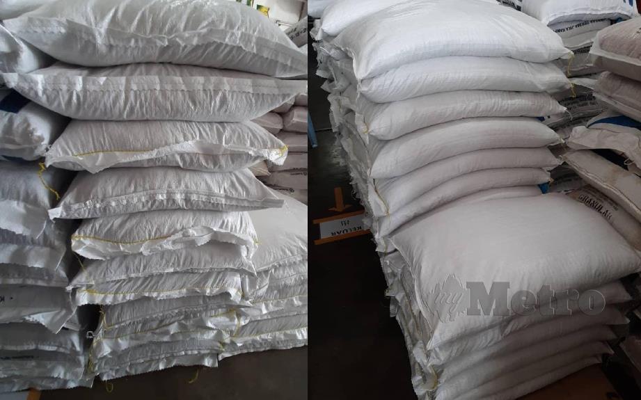 BENIH padi yang dirampas Bahagian Penguatkuasa Kawalselia Padi dan Beras di sebuah kedai racun di Alor Setar semalam. FOTO IHSAN MAFI