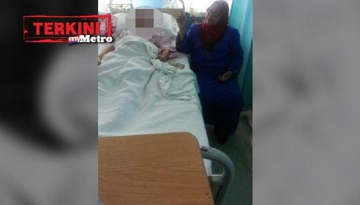 Pengerusi Jawatankuasa Bertindak Kebajikan, Pembangunan Wanita dan Keluarga negeri Datuk Norhayati Omar menziarahi budak perempuan  11 tahun yang melahirkan anak pagi tadi dan kini dirawat di Hospital Tunku Ampuan Najihah. FOTO Amran Yahya