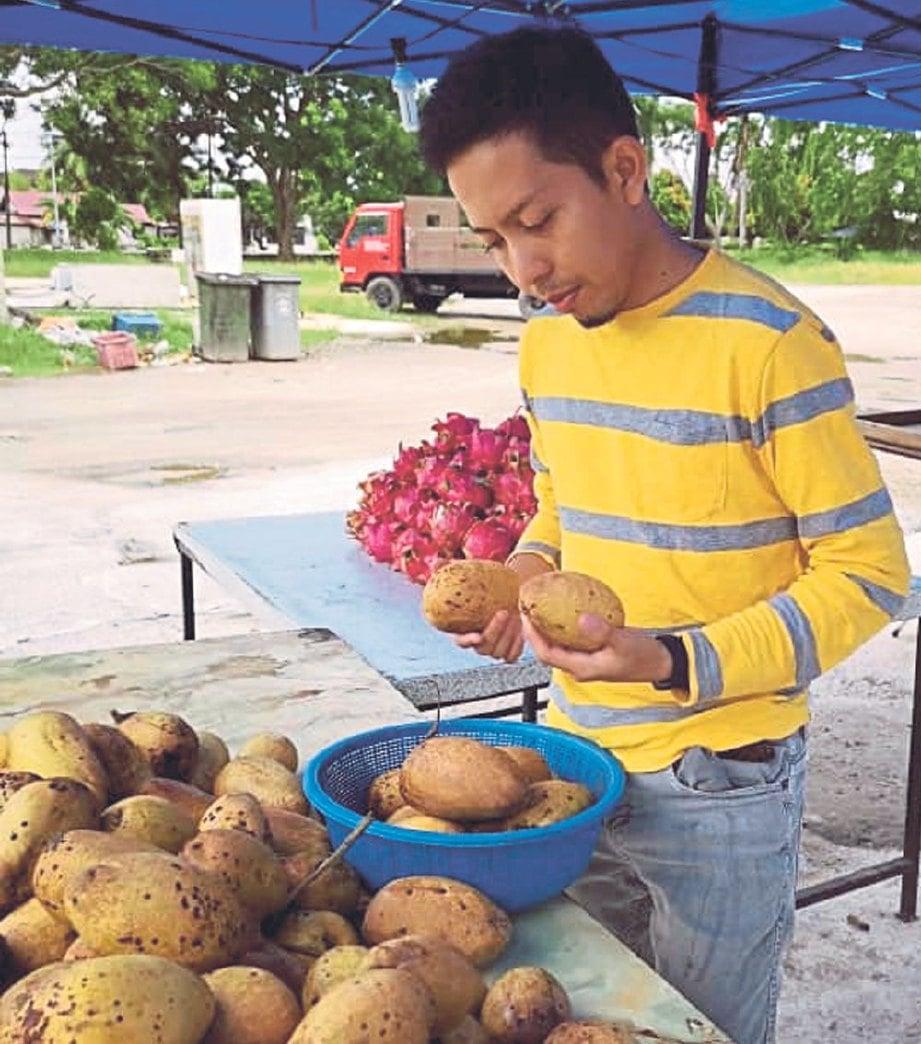 DR Mohd Norfaizal melihat buah binjai yang dijual di tepi jalan di Melaka.