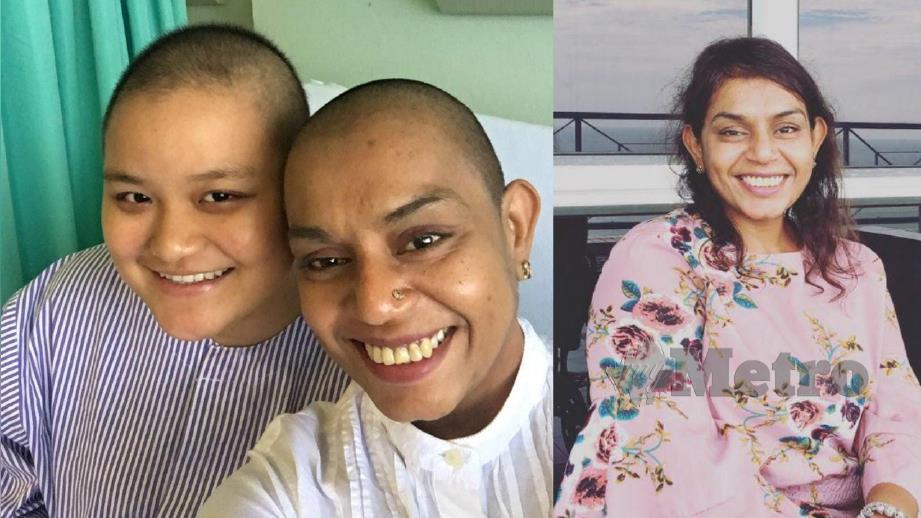 RICHELLE (kiri) bersama Bamini yang datang melawatnya di Hospital Likas, Kota Kinabalu, semalam. (Gambar kanan) Bamini ketika berambut panjang.