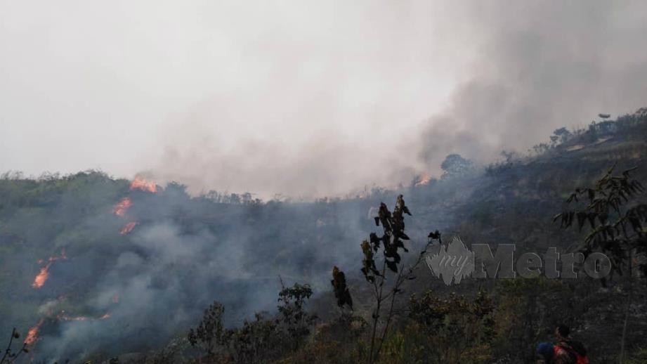 Kawasan belukar seluas 2.8 hektar di Bukit Broga, Semenyih terbakar hari ini. FOTO Ihsan JBPM