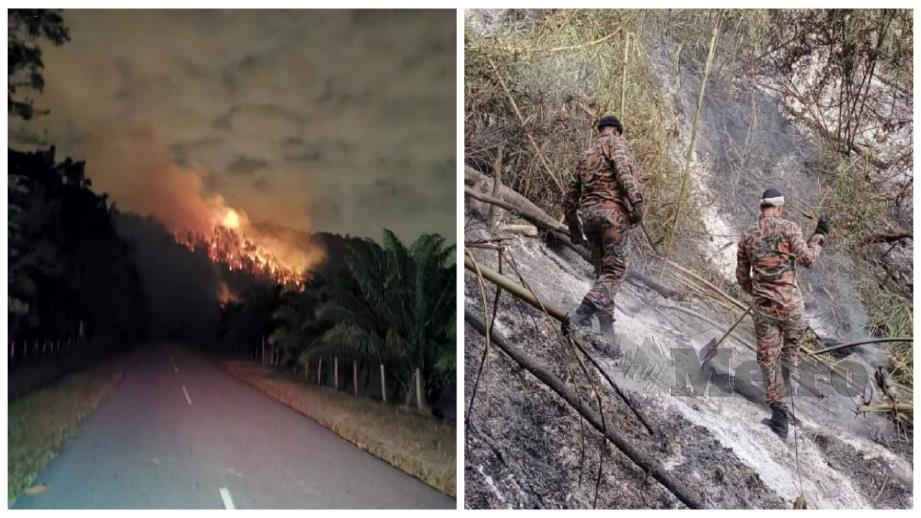 KEBAKARAN hutan di atas bukit Kampung Wang Perah. Anggota bomba memadam kebakaran. FOTO Ihsan Bomba.