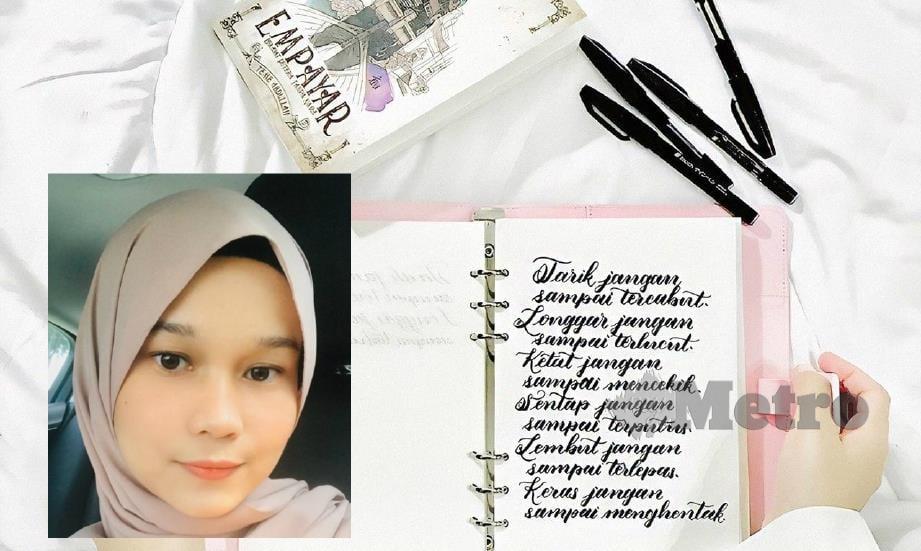 NUR Izzati (kiri) bersama tulisan kemas yang dikongsi di Instagram @soyoulikeart miliknya. FOTO ihsan Nur Izzati Abdul Rani.