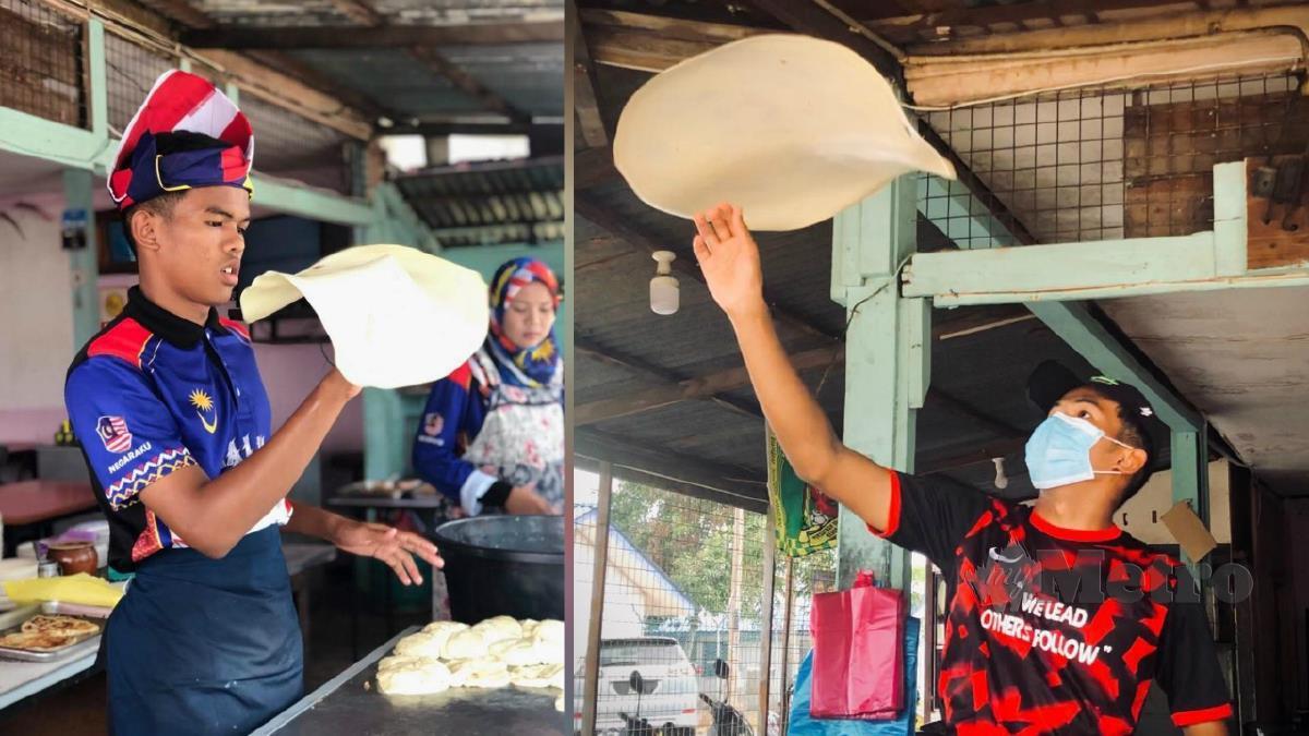 MUHAMMAD Muiz menunjukkan kemahirannya menebar roti canai termasuk roti canai terbang. FOTO ihsan Foto Ihsan Muhammad Muiz Ruzaini.