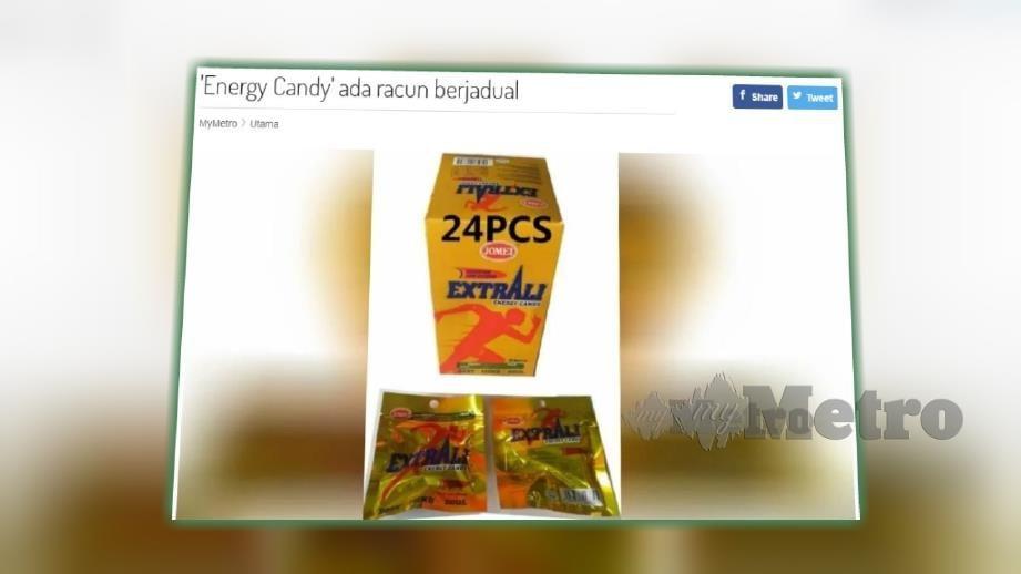 LAPORAN portal Harian Metro hari ini memaklumkan Jomei Extra Energy Candy mengandungi dadah.
