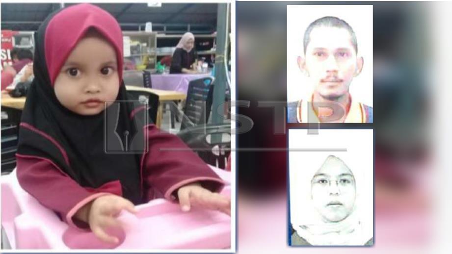 NUR Aisyah Aleya hilang sejak minggu lalu. (Gambar kecil) Dua suspek yang sedang dikesan. FOTO Ihsan polis