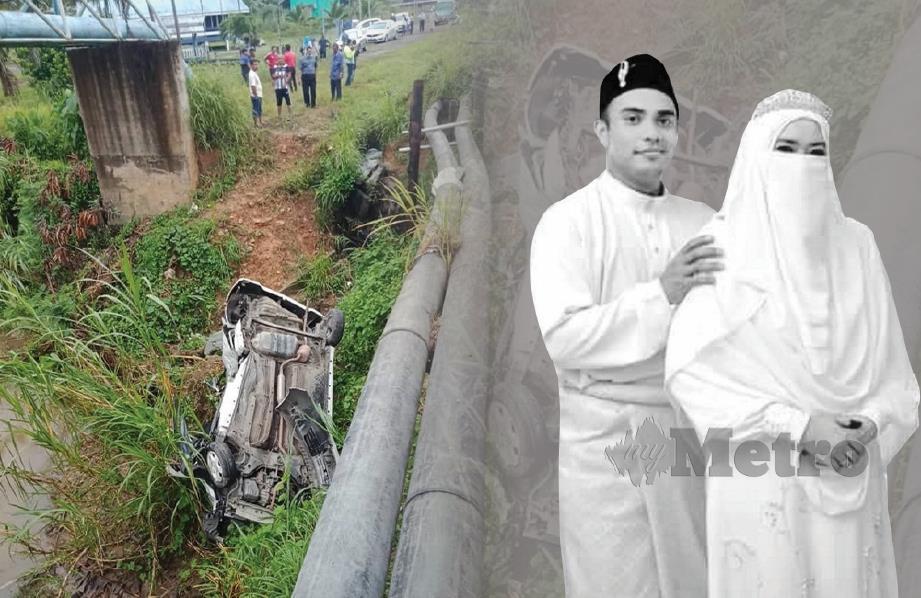 KERETA dinaiki mangsa terbabas ke tebing sungai di Kampung Kijang, berhampiran Jambatan Merotai Besar, semalam.