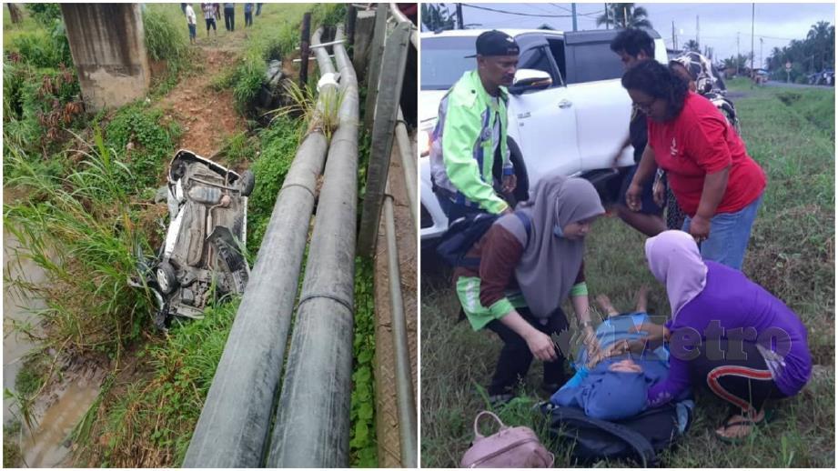 KERETA yang terjatuh ke tebing sungai dan orang ramai membantu mangsa yang cedera. FOTO Abdul Rahemang Taiming.