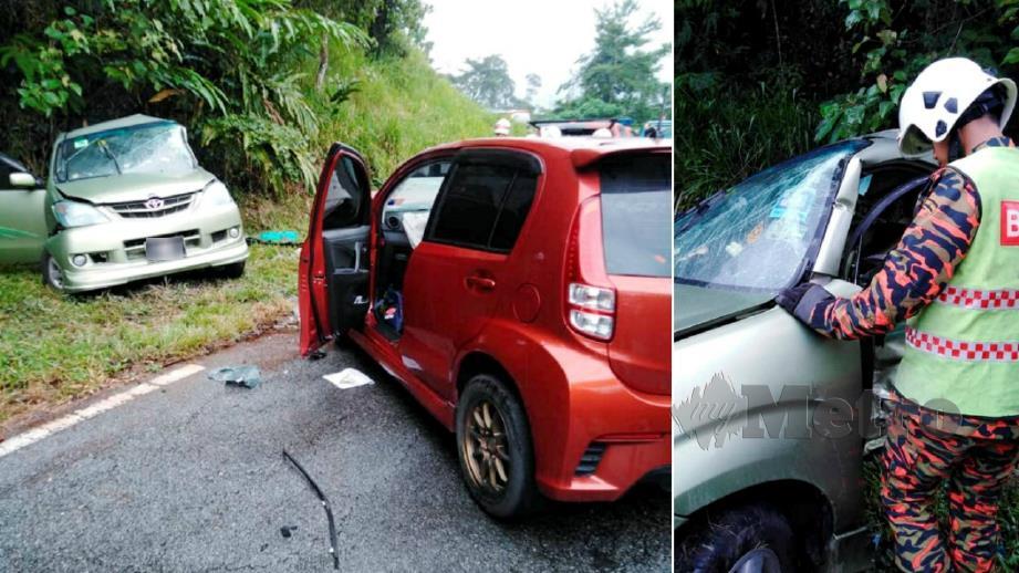 ANGGOTA bomba berusaha mengeluarkan mangsa dalam Toyota Avanza selepas terbabit kemalangan dengan Perodua Myvi. FOTO Ihsan Bomba