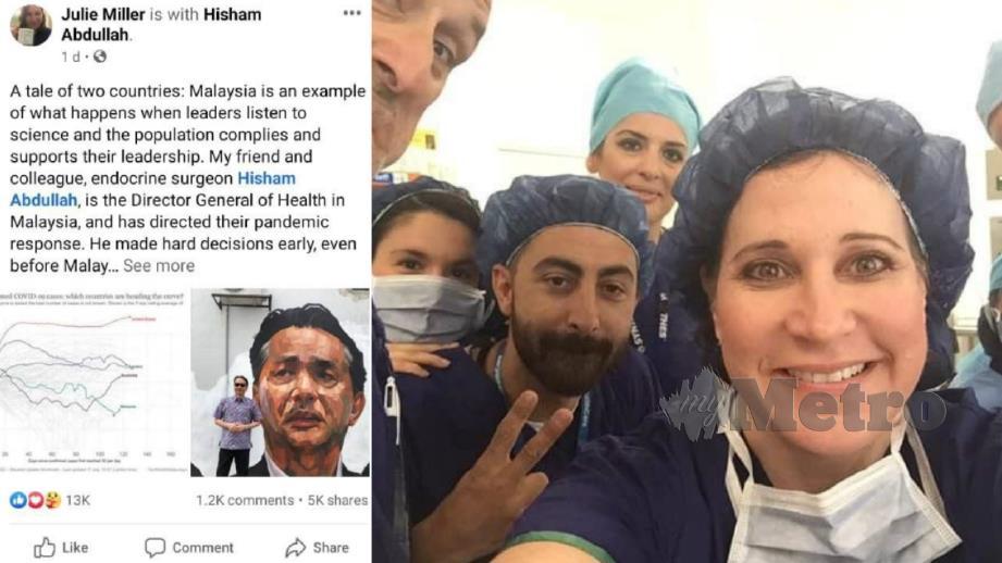 STATUS yang dimuat naik Dr Miller, rakan sejawat Dr Noor Hisham di Amerika Syarikat. FOTO Facebook