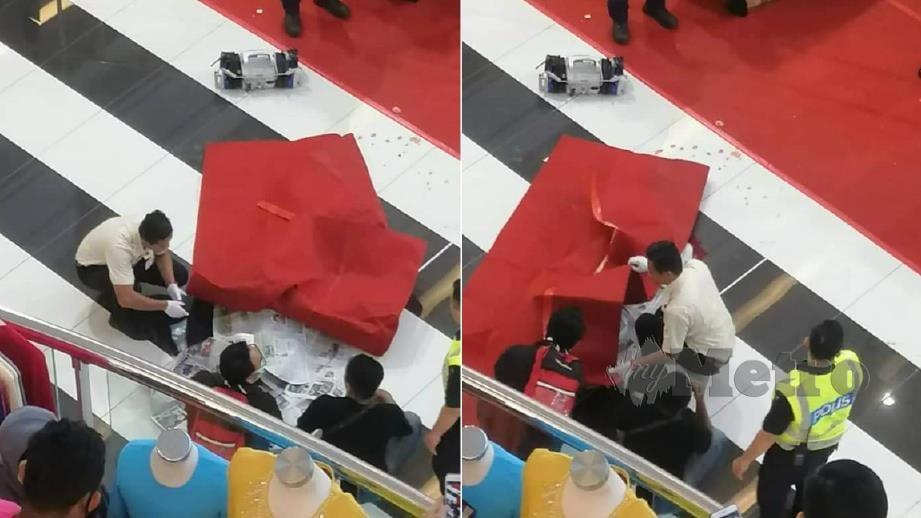 LELAKI warga emas maut selepas dipercayai terjatuh dari tingkat empat pusat beli-belah. FOTO Ihsan Pembaca