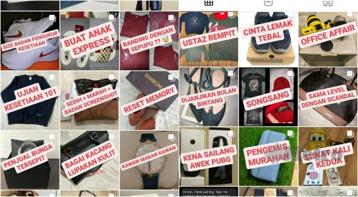 ANTARA barangan yang dijual di platform jualan barangan bekas kekasih di Instagram milik Hazim. FOTO Hairul Anuar Rahim