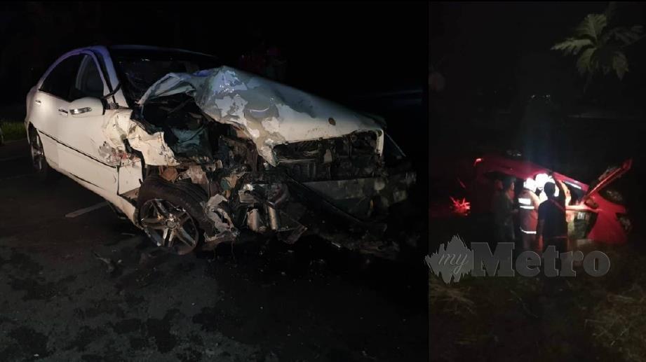 KEADAAN Perodua Myvi (kanan) dan Mercedes-Benz C200 (kiri) yang terbabit kemalangan di Jalan Tali Air, Sawah Sempadan.  FOTO Ihsan Pembaca