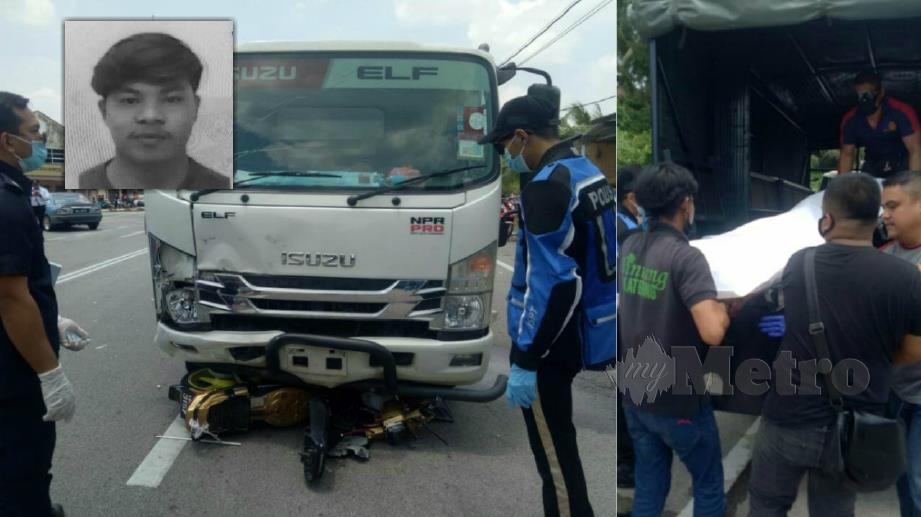 MUHAMMAD Salman meninggal dunia di tempat kejadian selepas motosikal dinaiki dirempuh lori. FOTO Ihsan Polis