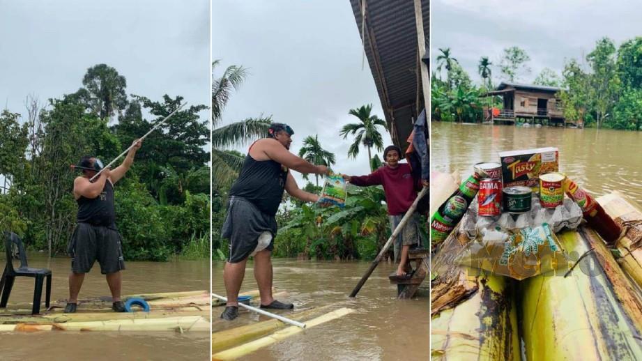 ARSHADILA menaiki rakit yang diperbuat daripada batang pokok pisang menyumbang bantuan kepada mangsa banjir. FOTO Ihsan Arshadila Arshad