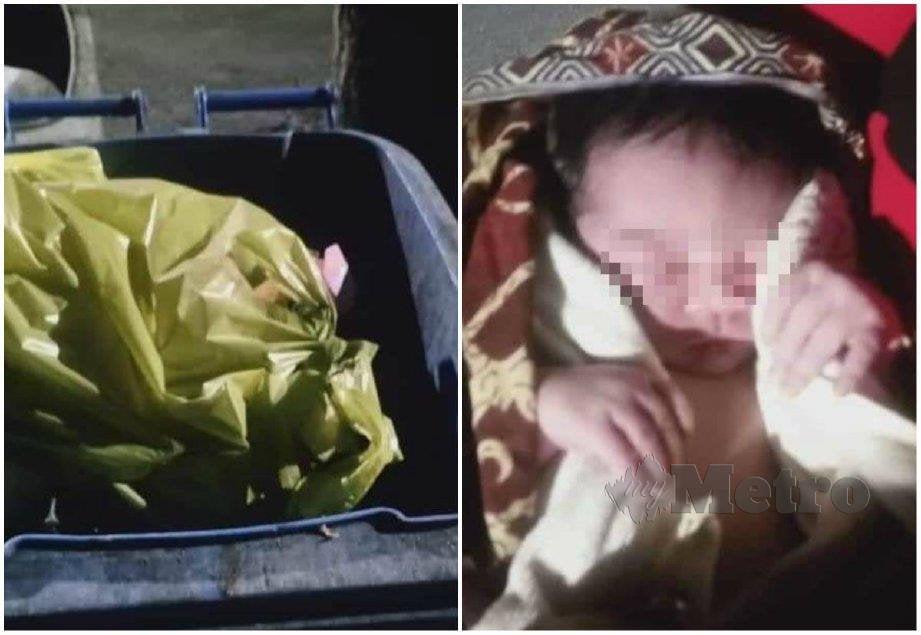 BAYI yang ditemui di dalam tong sampah di Seberang Takir, Kuala Nerus. FOTO ihsan pembaca
