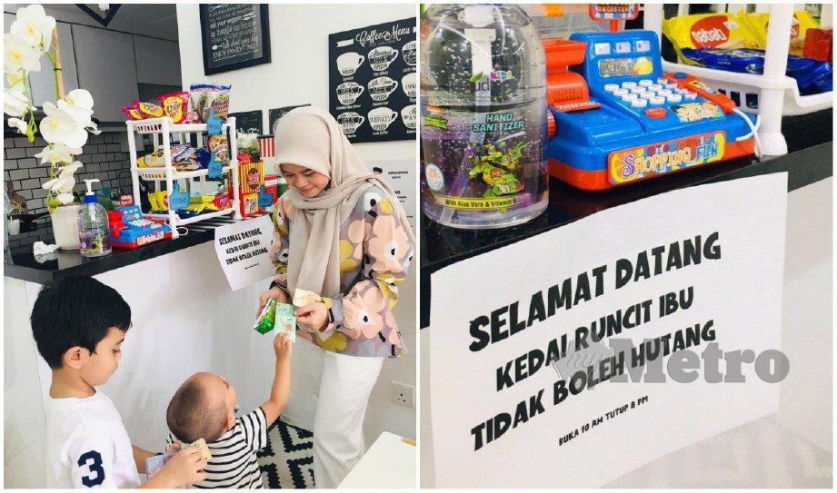 KREATIVITI Nurafiza mewujudkan kedai runcit untuk mengawal anaknya di rumah tular. FOTO ihsan Nurafiza Nadzirah