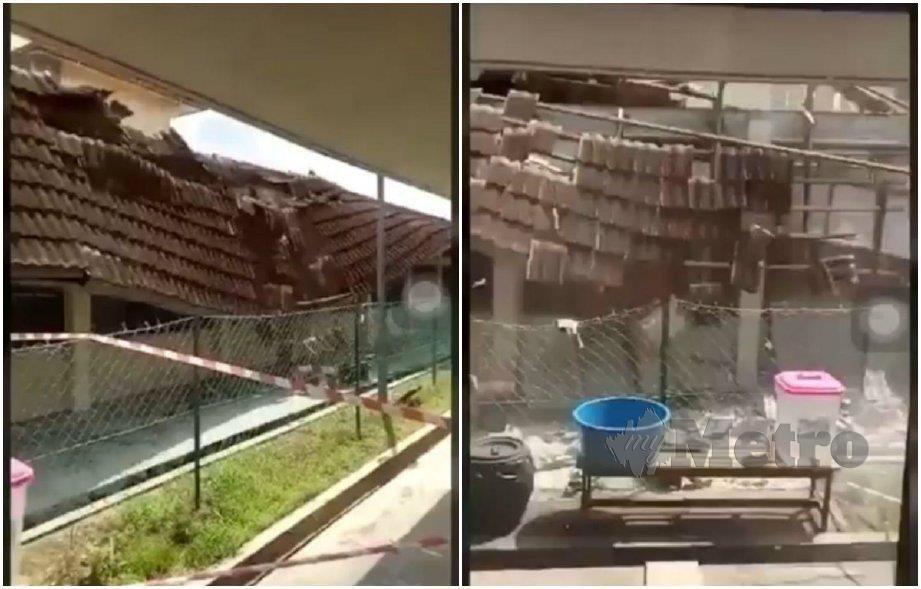 TANGKAP layar video dewan makan sebuah sekolah menengah agama yang runtuh, hari ini. FOTO ihsan pembaca