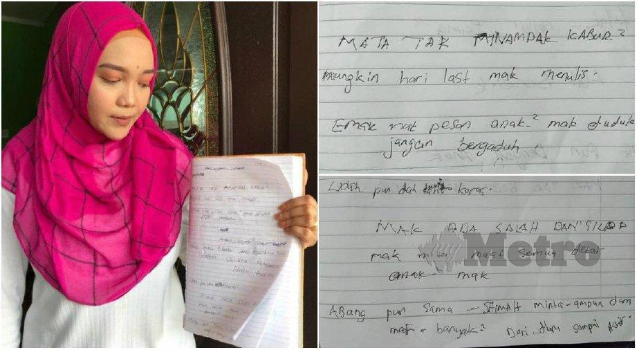 Nurul menunjukkan buku tulis peninggalan almarhumah ibunya.