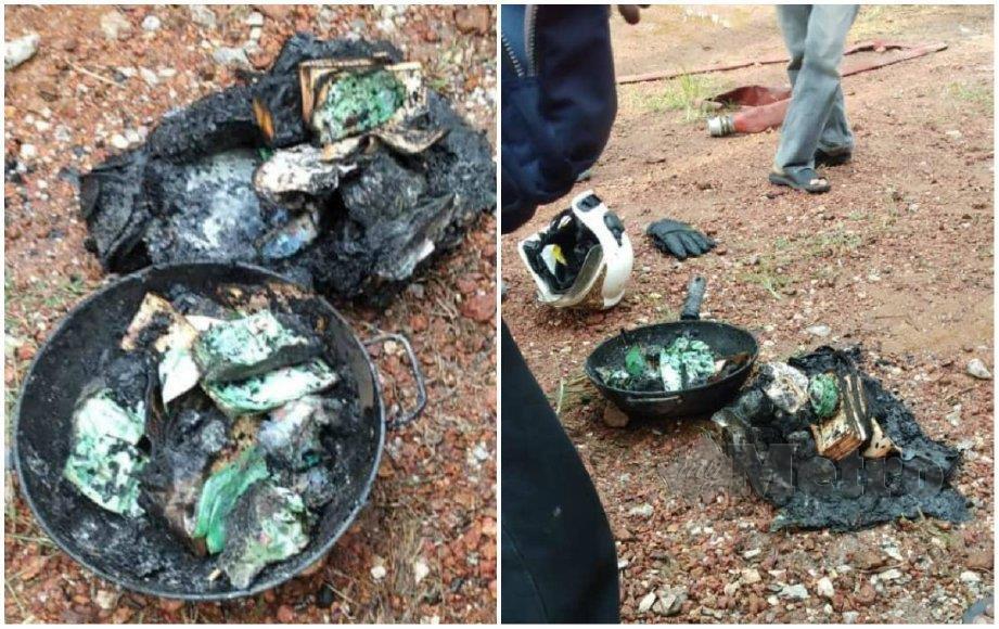 SEBAHAGIAN wang simpanan dan modal pusingan perniagaan milik Khatib yang terbakar. FOTO ihsan bomba