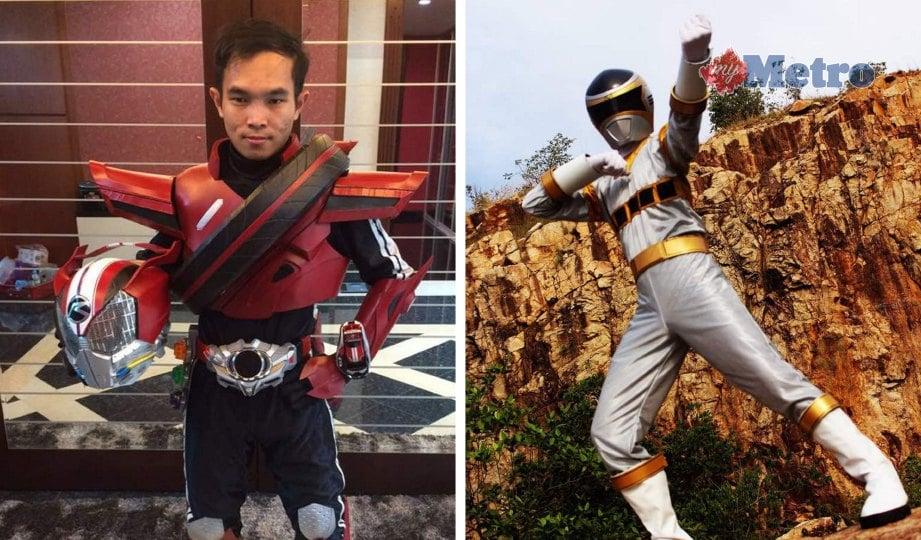 SALIHIN dalam watak cosplay Kamen Rider dan Power Rangers yang diminatinya. FOTO Zaheerul Fikri, Aliff Baharuddin, Sharingan Ismadi, Hidayah Nodoka