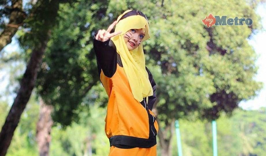 AMALINA, menggayakan watak Naruto. FOTO Zaheerul Fikri, Aliff Baharuddin, Sharingan Ismadi, Hidayah Nodoka