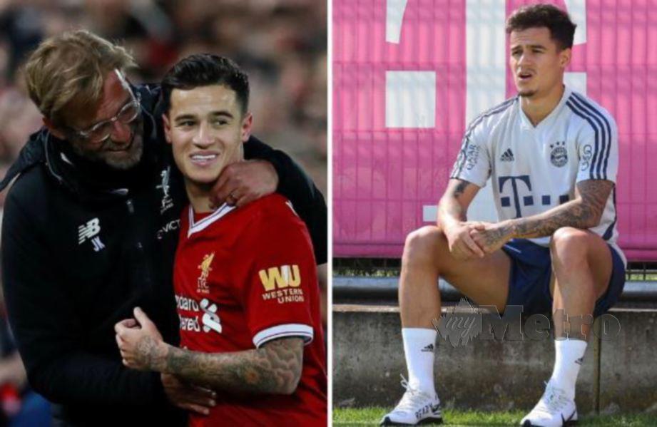 Coutinho ketika dibimbing Klopp sementara gambar kanan reaksi bintang Brazil ketika di Bayern. FOTO Agensi