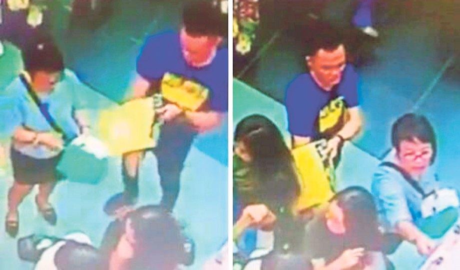 RAKAMAN CCTV menunjukkan gelagat kumpulan pencuri menyeluk beg mangsa di pusat beli-belah.