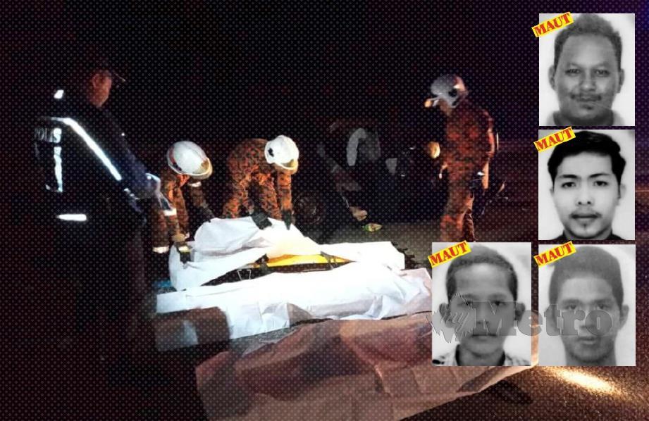 EMPAT maut dalam kemalangan  di Kilometer 42, Jalan Kuala Jeneris-Sungai Gawi (Aring), malam kelmarin. (Gambar kecil dari atas), Noriskandar, Afif Safwan, Wan Ahmad Adam Murshidy dan Zulkarnain Buniyami.