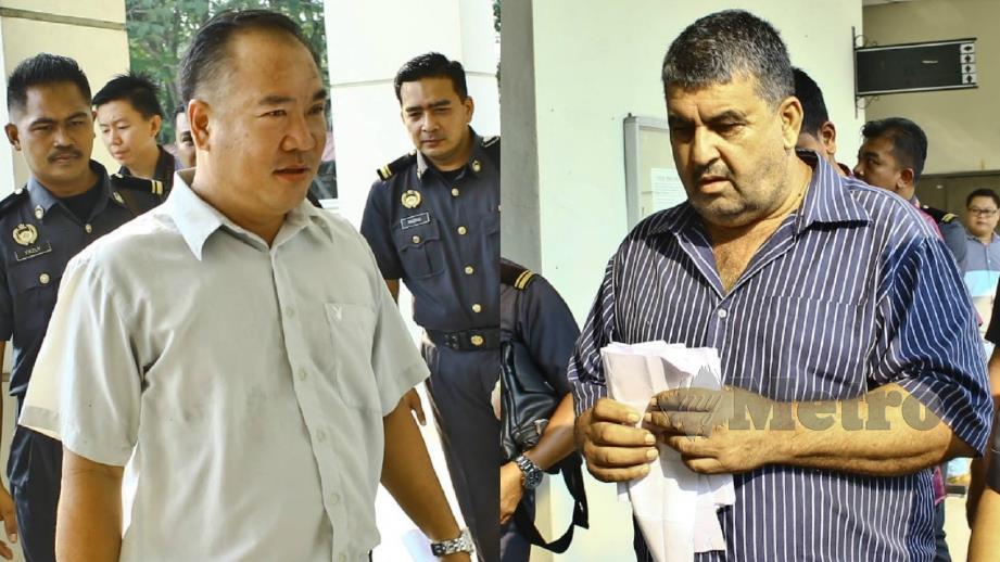 Chia (kiri) mewakili Sheng Chen Enterprise dan Rahman dihadapkan ke Mahkamah Sesyen Seremban hari ini. FOTO Adzlan Sidek