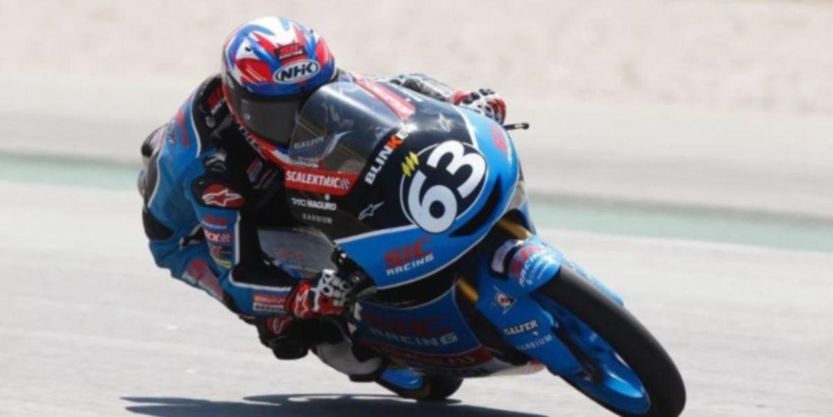 DAMOK  muncul juara saingan CEV Moto3 Remaja Dunia di Litar Catalunya, Sepanyol.