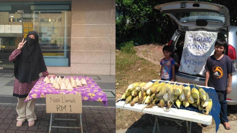 NURUL Shahzamul berniaga nasi lemak seawal 7 pagi dan selepas itu, dibantu anaknya menjual jagung di pekan Rawang. FOTO Nurul Shahzamul Hidayah Mohd Sham.