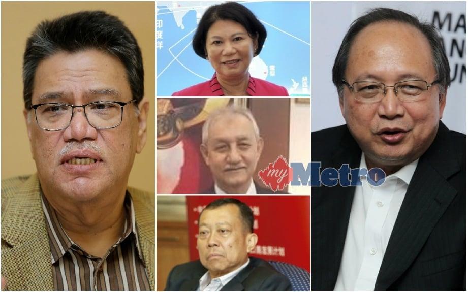 (Dari kiri) Zahrain, Adeline (tengah atas), Ghulam Jelani, Siow dan Dompok adalah ketua perwakilan Malaysia yang ditamatkan perkhidmatan.
