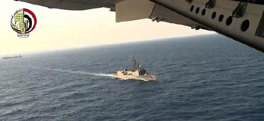 Petikan video daripada Kementerian Pertahanan Mesir yang dirakam dari atas pesawat tentera udara Mesir menunjukkan usaha mencari di Laut Mediterranean. - Foto AP