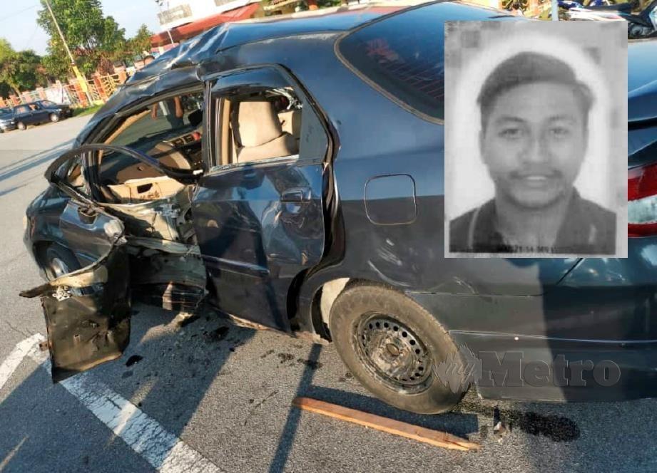 KEADAAN kereta terbabit kemalangan itu. Gambar kecil (Allahyarham Muhammad Firdaus). FOTO Ihsan PDRM