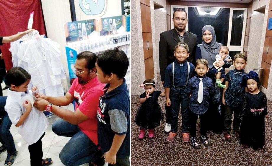 GAMBAR kiri, Muhammad Hadif Ilham bersama ayahnya ketika melakukan persediaan sebelum sesi persekolahan bermula. TUAN Norsuzlia bersama suami dan anak.