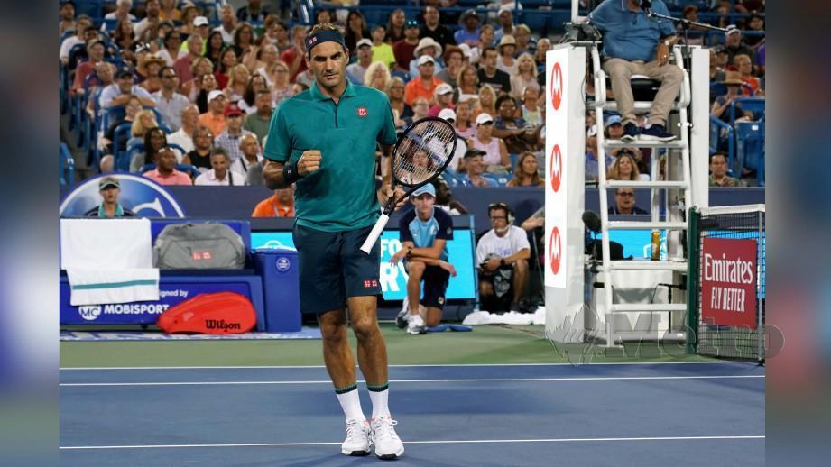 Reaksi Federer selepas menewaskan Juan Ignacio. FOTO USA TODAY