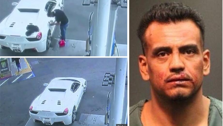 Israel Perez Rangel, 38, ditahan bersama FERRARI 458 Spider selepas mengemis bagi mengisi minyak kereta mewah yang dicurinya itu. - Foto Polis Santa Ana/The Mirror